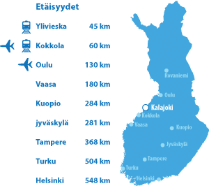 Kalajoki Golf vieraspelaajille - Kalajoki etäisyydet kartta